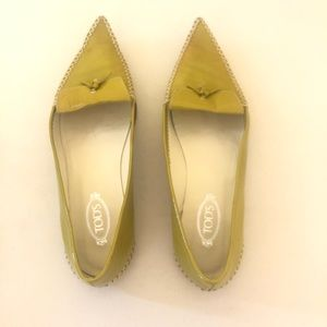 Tod's Patent Leather Loafer Flats Chartreuse 7